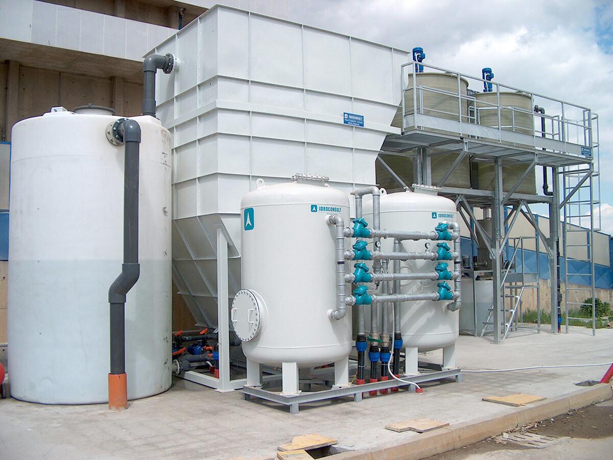 Impianto chimico-fisicoAcqua trattata 25m³/h
