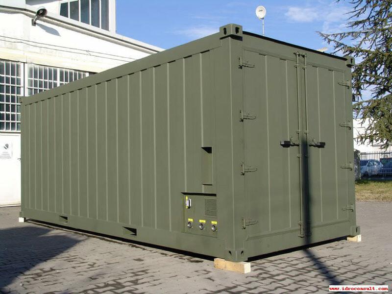 Vista esterna dissalatore militare » Potabilizzatori in container